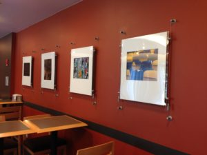 Photo exhibit in the Max Mutchnick Campus Center at Emerson College, Fall 2014